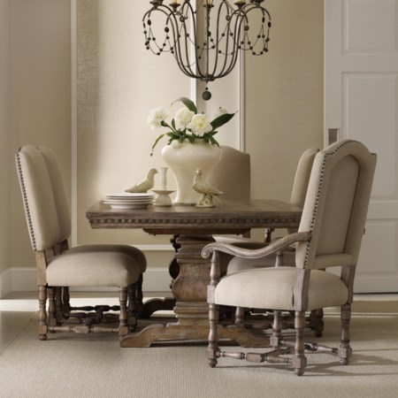 Rectangular Table with Upholstered Chairs