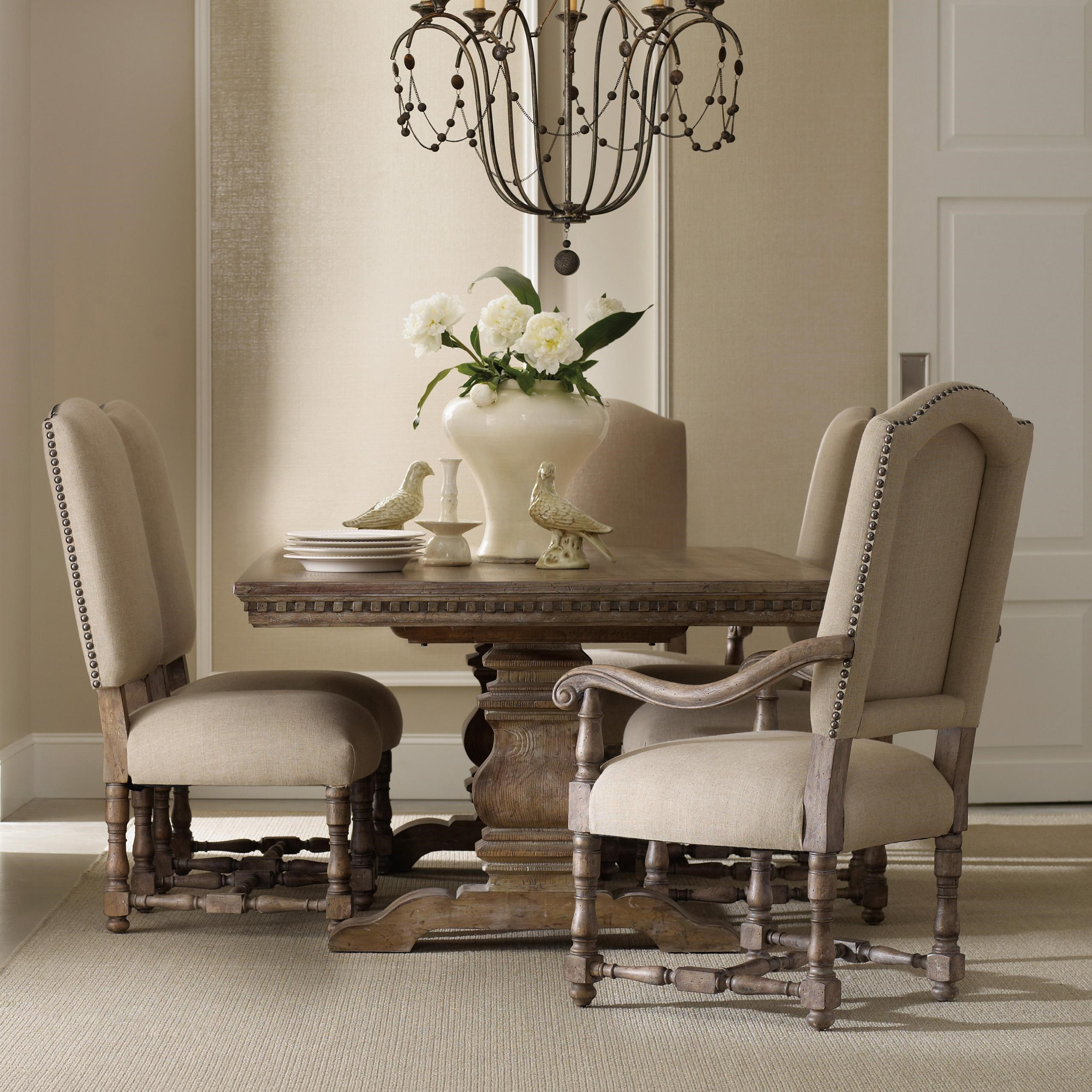 Hooker Furniture Sorella Formal Dining Set With Rectangular Table,  Upholstered Arm Chairs And Upholstered Side