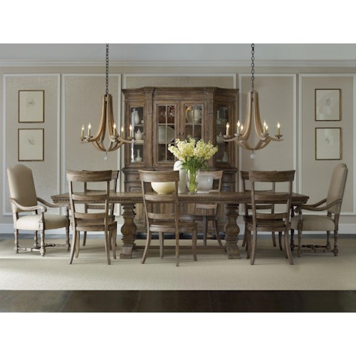 Hooker Furniture Sorella Formal Dining Set with Rectangular Table, Upholstered Arm Chairs and Ladderback Side Chairs