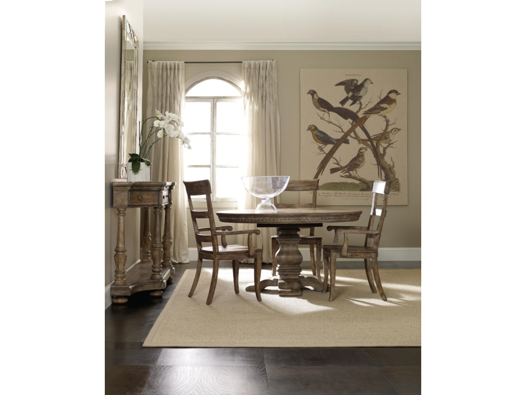 Shown with Pedestal Dining Table, Ladderback Side Chair, Credenza and Four Door Hutch