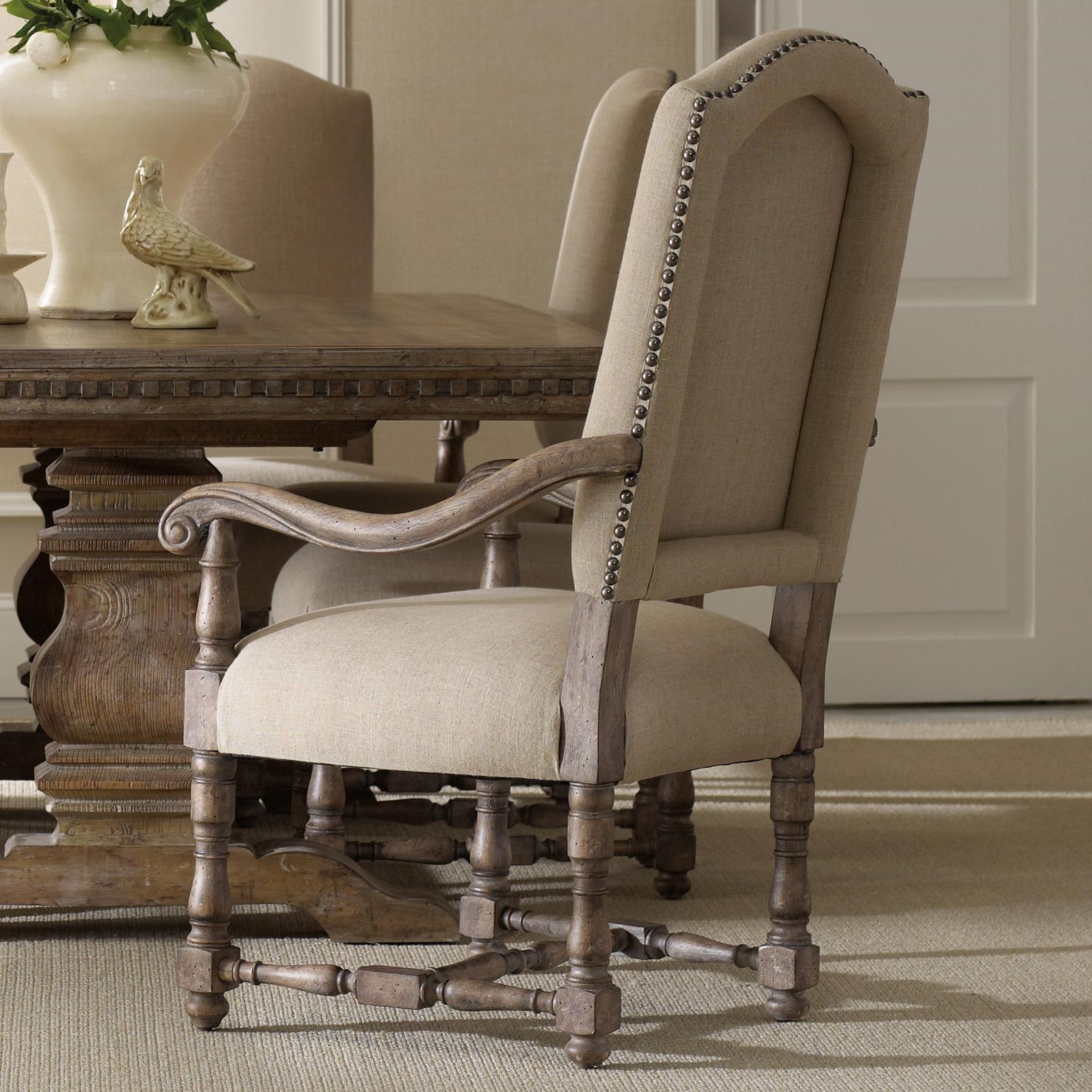 Upholstered Dining Arm Chair with Scrolled Armrests, Turned Stretcher and Nailhead Trim