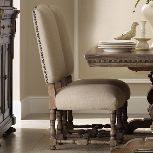 Furniture Sorella Upholstered Dining Side Chair With Turned Stretcher And Nailhead Trim