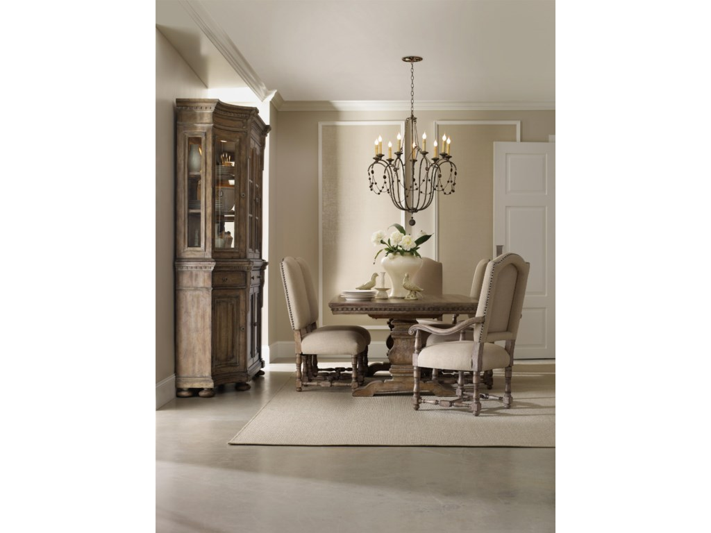 Shown with Four Door Hutch, Pedestal Table, Upholstered Arm Chair and Upholstered Side Chair