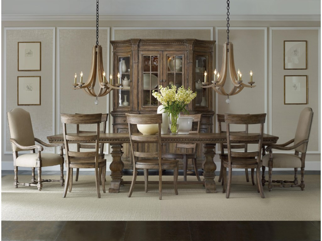 Shown with Four Door Hutch, Rectangular Table, Upholstered Arm Chair and Ladderback Side Chair