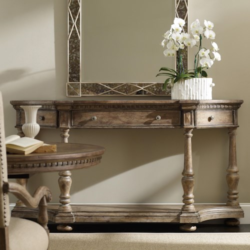 Hooker Furniture Sorella Demilune Console with Drop-Front Center Drawer and 2 Swing-Out Side Drawers