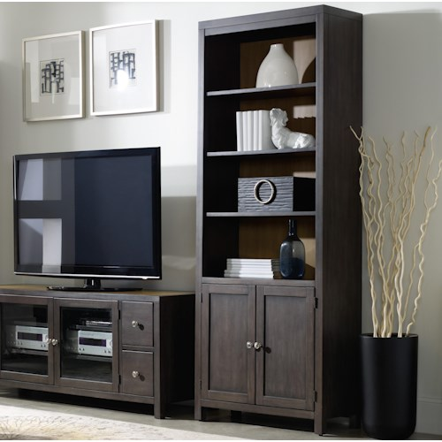 Hooker Furniture South Park Bunching Bookcase with 3 Shelves and Doors