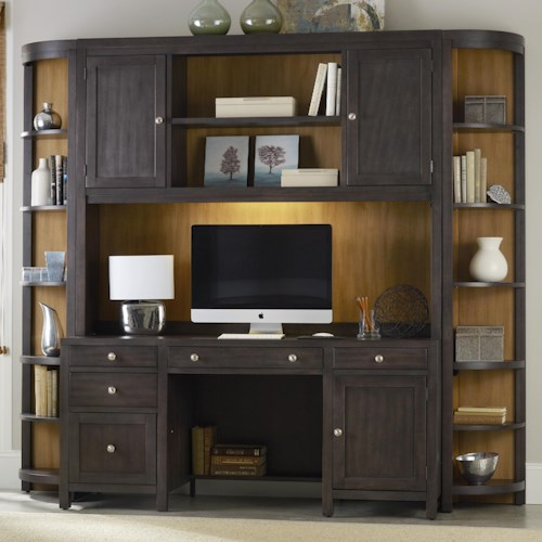 Hooker Furniture South Park Computer Credenza Wall Unit with Power Bar