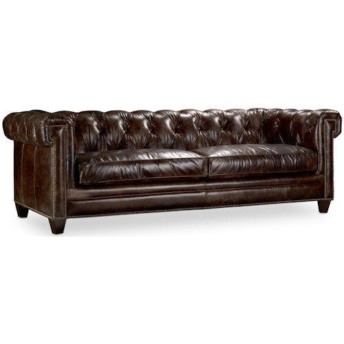 Hooker Furniture SS195 089 Transitional Chesterfield Sofa with Track Arms and Nailheads