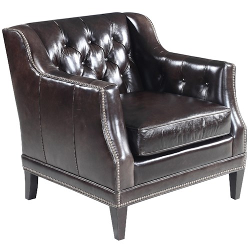 Hooker Furniture SS355 Leather Stationary Chair with Track Arm and Tufted Back