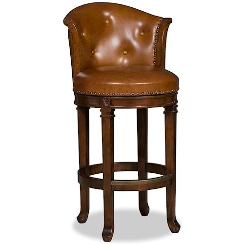 Hooker Furniture Stools Dark Manhattan Transitional Swivel Leather Barstool