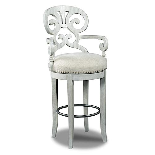 Hooker Furniture Stools Light Mimosa - Cottage Fabric Swivel Barstool