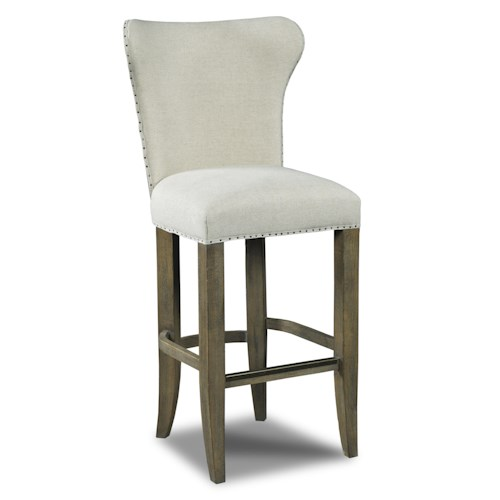 Hamilton Home Stools Light Rum Runner Deconstructed Barstool with Nailhead Trim