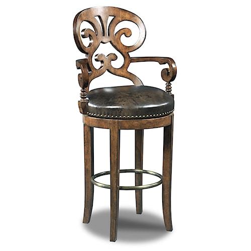 Hooker Furniture Stools Dark Jameson Traditional Leather Swivel Barstool