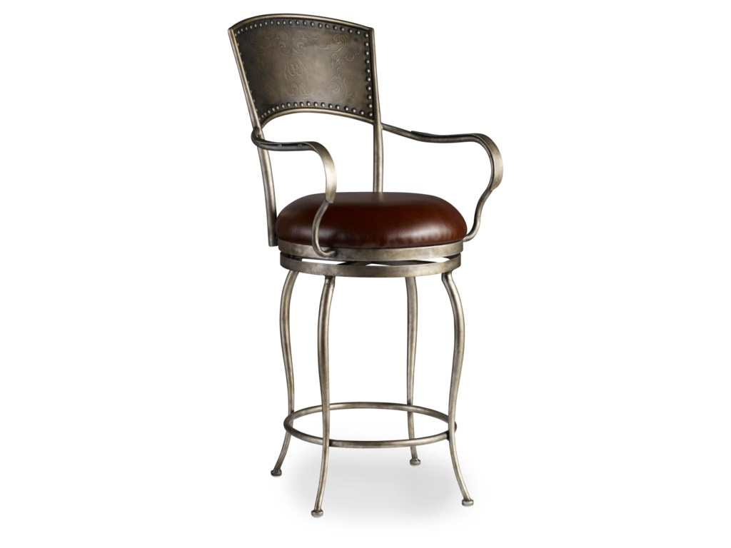 Hooker Furniture Stools MediumMetal Barstool with Leather Seat