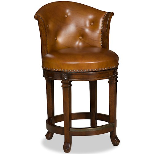 Hooker Furniture Stools Dark Manhattan Transitional Swivel Leather Counter Stool
