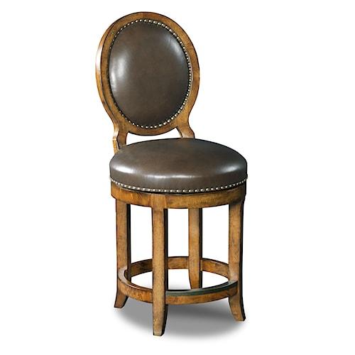 Hooker Furniture Stools Medium Mojito Oval Back Swivel Counter Stool