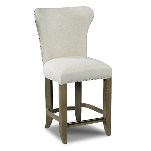 Hooker Furniture Stools Light Rum Runner Deconstructed Counter Stool with Nailhead Trim