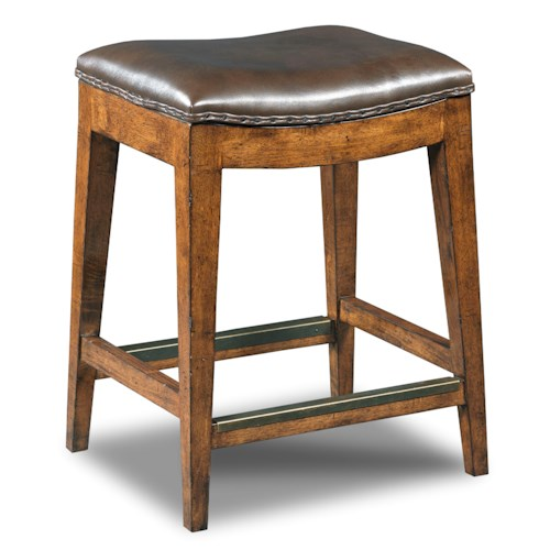Hooker Furniture Stools Medium Sangria Rec Backless Counter Stool with Leather Seat