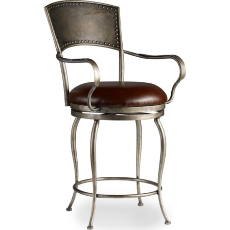 Metal Counter Stool with Leather Seat