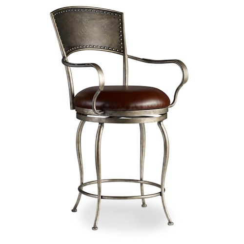 Hooker Furniture Stools Medium Metal Counter Stool with Leather Seat and Nailhead