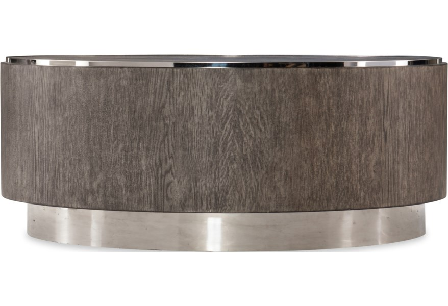 Hooker Furniture Storia 1609 80111 Mwd Contemporary Round Cocktail Table With Stainless Steel Base Baer S Furniture Cocktail Coffee Tables