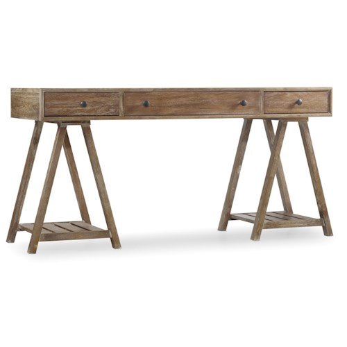 Hooker Furniture Studio 7H Stiegs Writing Desk with Sawhorse Pedestals