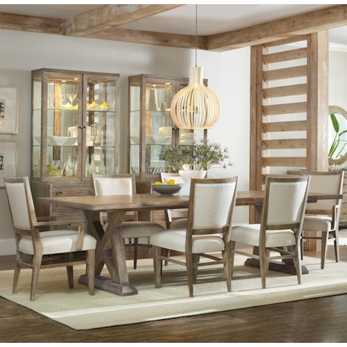 Hooker Furniture Studio 7H 7 Piece Dining Set with Geo Trestle Table and Stol Upholstered Chairs