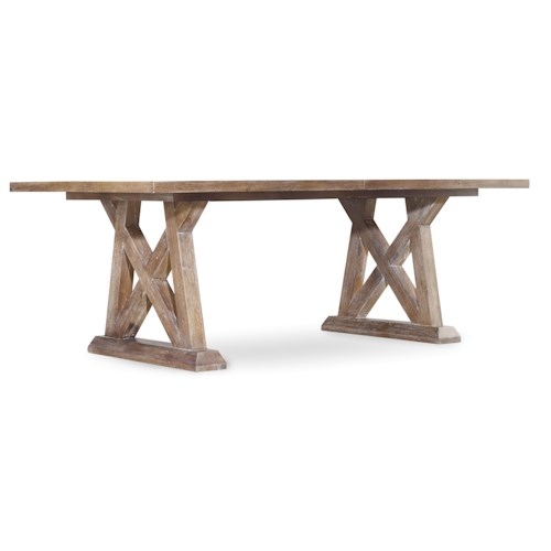 Hooker Furniture Studio 7H Geo Trestle Dining Table with X Pedestals