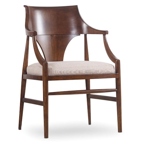 Hooker Furniture Studio 7H Jens Danish Arm Chair with Upholstered Seat