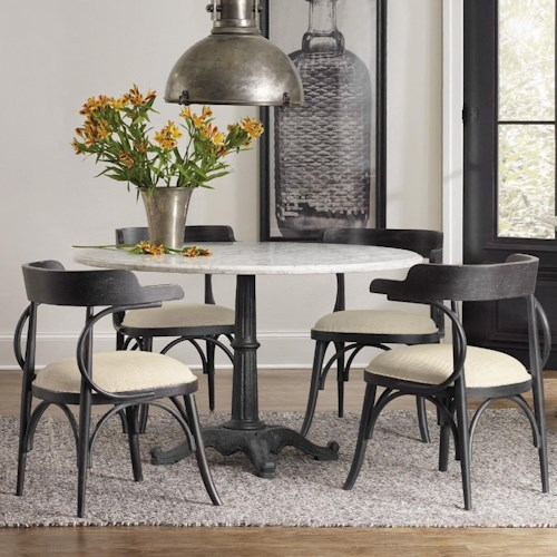 Hooker Furniture Studio 7H 5 Piece Dining Set with Marble Table Top