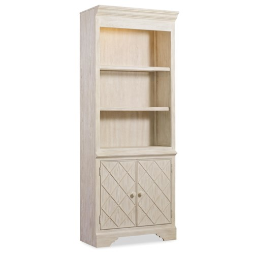 Hooker Furniture Sunset Point Casual Cottage Coastal Bunching Bookcase with Storage Cabinet