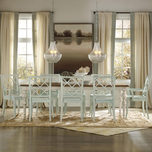 Hooker Furniture Sunset Point Casual Cottage Coastal 9 Piece Table & Chair Set