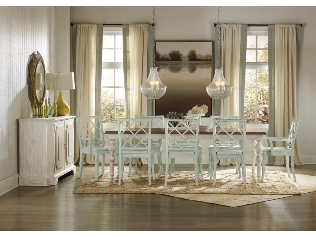 Hooker Furniture Sunset Point Casual Cottage Coastal 9 Piece Table ...