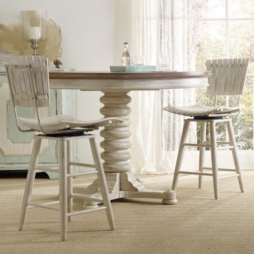 Hooker Furniture Sunset Point Casual Cottage Coastal 3 Piece Pub Table Set with Spool Pedestal