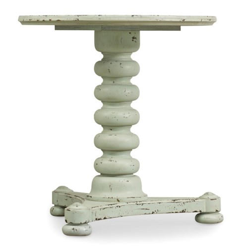 Hooker Furniture Sunset Point Casual Cottage Coastal Bedside Table with Spool Turned Pedestal