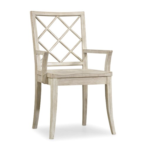 Hooker Furniture Sunset Point Casual Cottage Coastal X Back Arm Chair