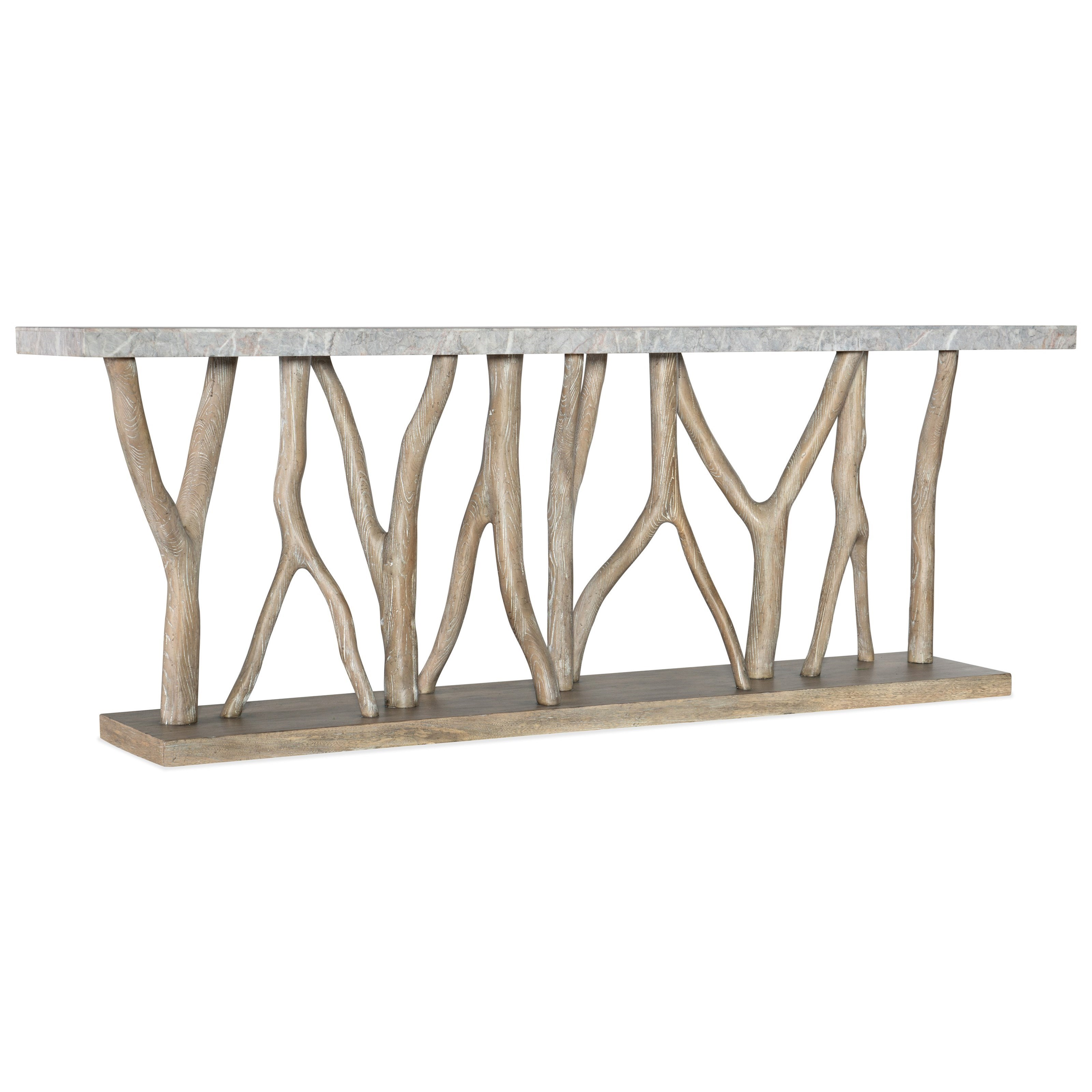 Coastal Console Table with Stone Veneer Top