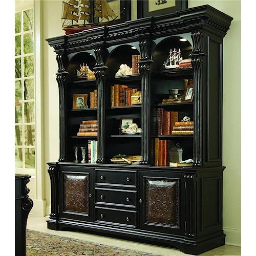 Hooker Furniture Telluride Bookcase Base &  Hutch with Nail Head Trim