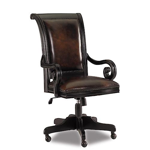Hooker Furniture Telluride Leather Upholstered Tilt Swivel Executive Chair on Caster Base