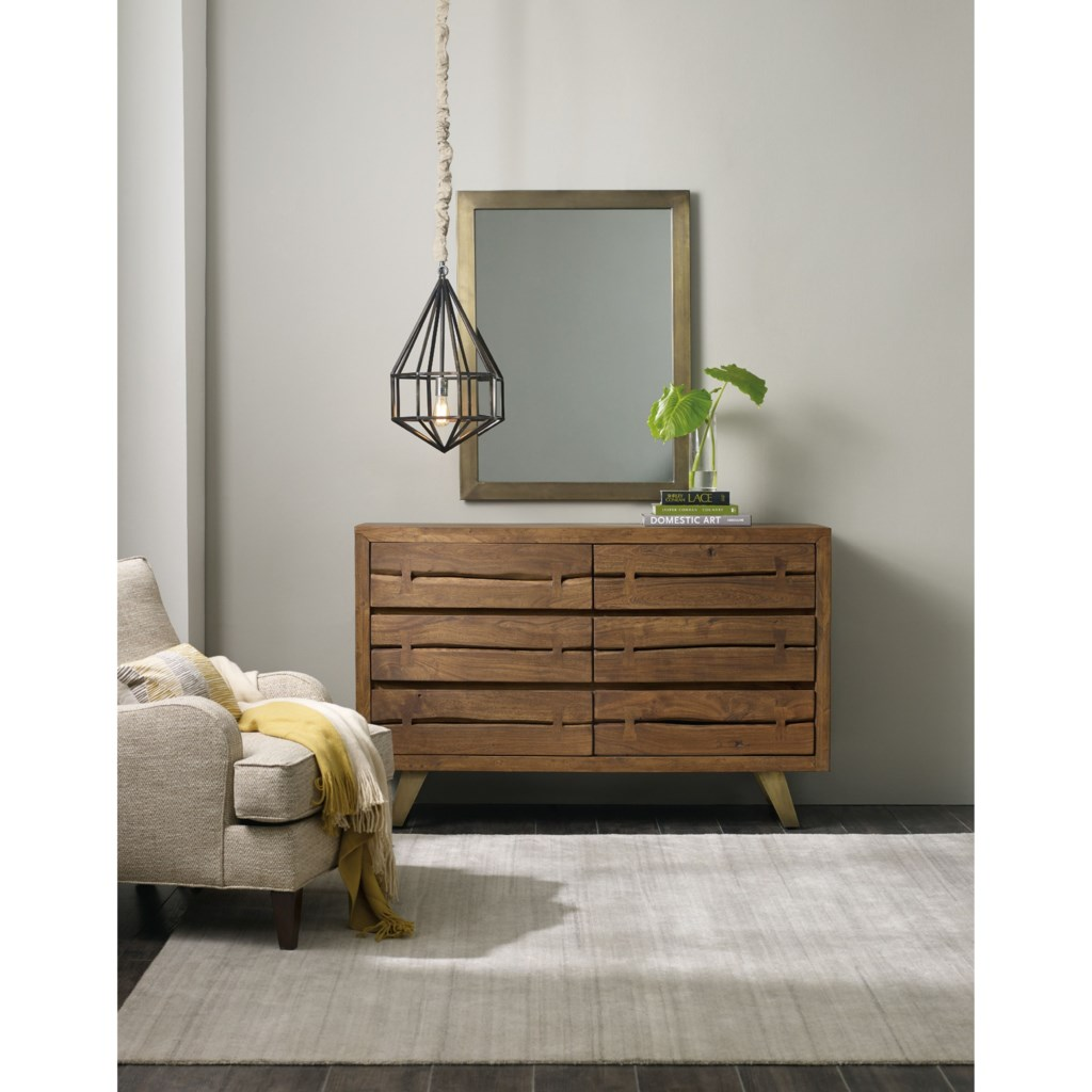 Hooker furniture transcend contemporary 6 drawer dresser and mirror dunk bright furniture dresser mirror sets