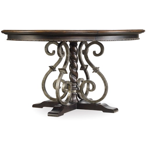Hooker Furniture Treviso Round Dining Table with Wrought Iron Pedestal Detail