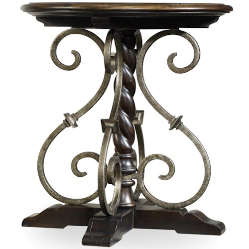Hooker Furniture Treviso Round Nightstand with Wrought Iron Shaping