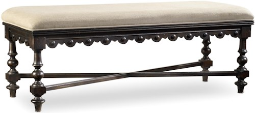 Hooker Furniture Treviso Upholstered Bed Bench with Scalloped Detailing