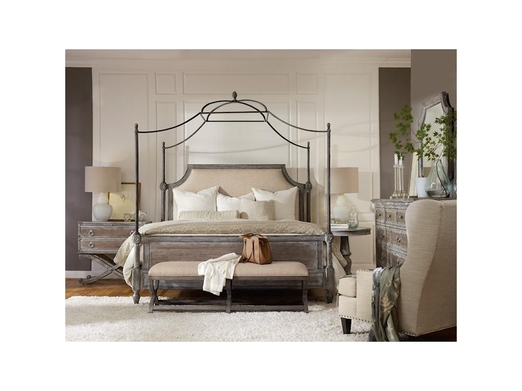 Hooker Furniture True VintageKing Fabric Upholstered Canopy Bed