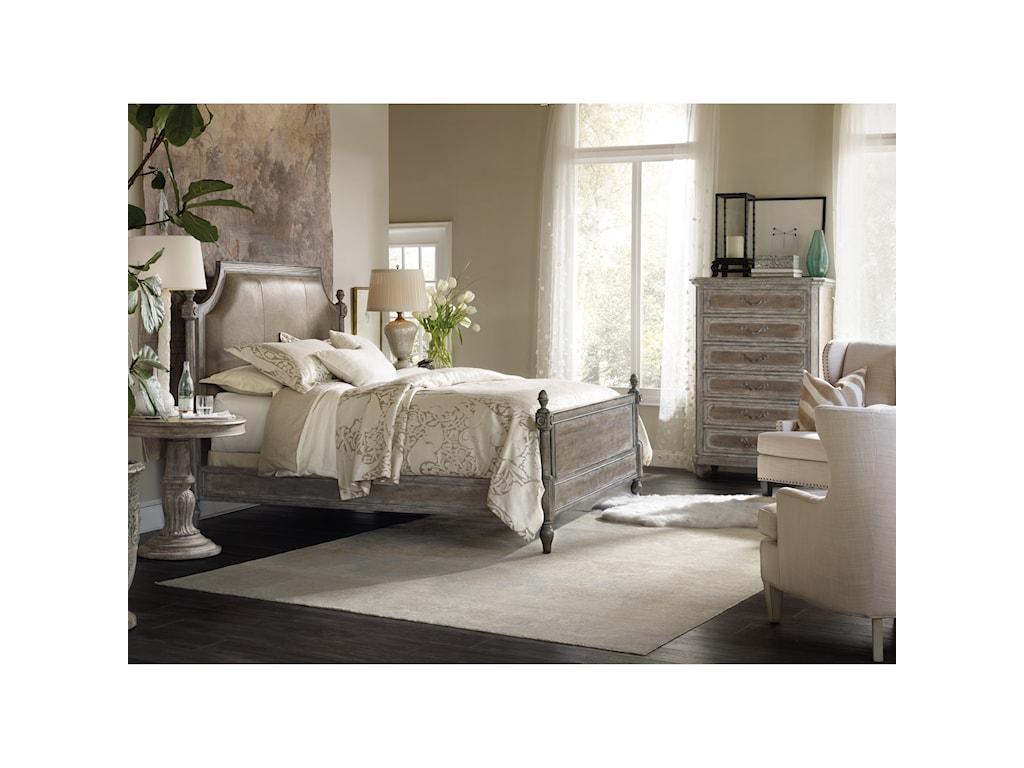 Hooker Furniture True VintageKing Leather Upholstered Poster Bed