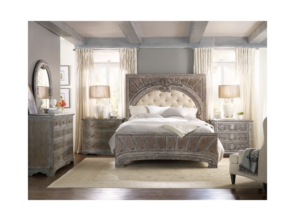 distressed oak bamboo and nightstand set sets dresser cherry furniture wood bedroom hooker contemporary
