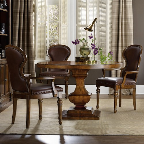 Hooker Furniture Tynecastle Traditional Table and Arm Chair Set
