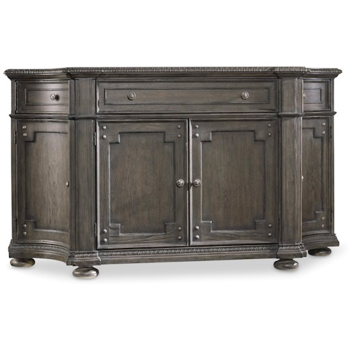 Hooker Furniture Vintage West Buffet with Drop-front Drawer and Wine Storage