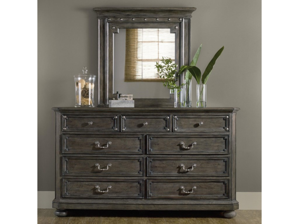 Hooker Furniture Vintage West 9 Drawer Dresser And Mirror