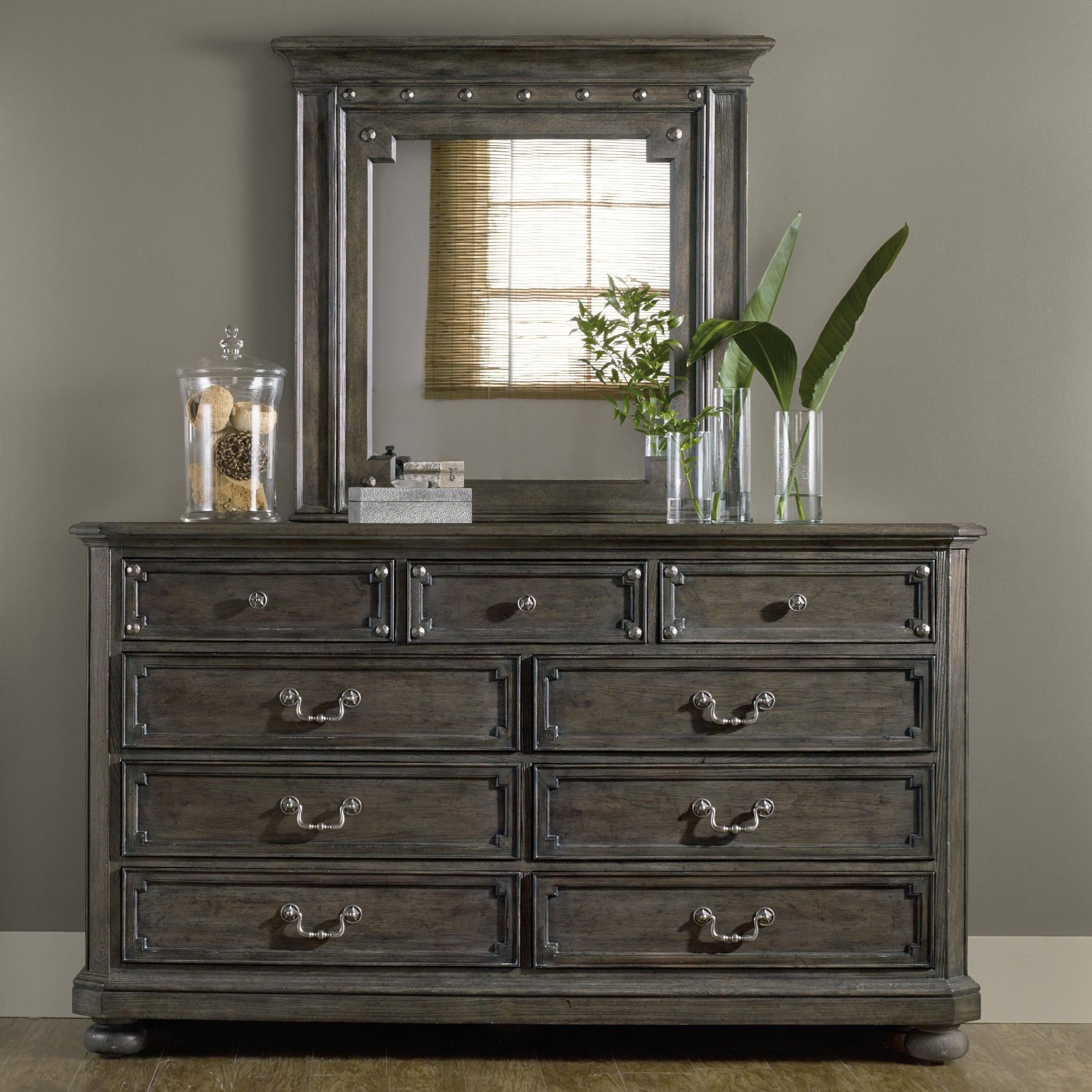 Hooker Furniture Vintage West 9 Drawer Dresser And Mirror Set